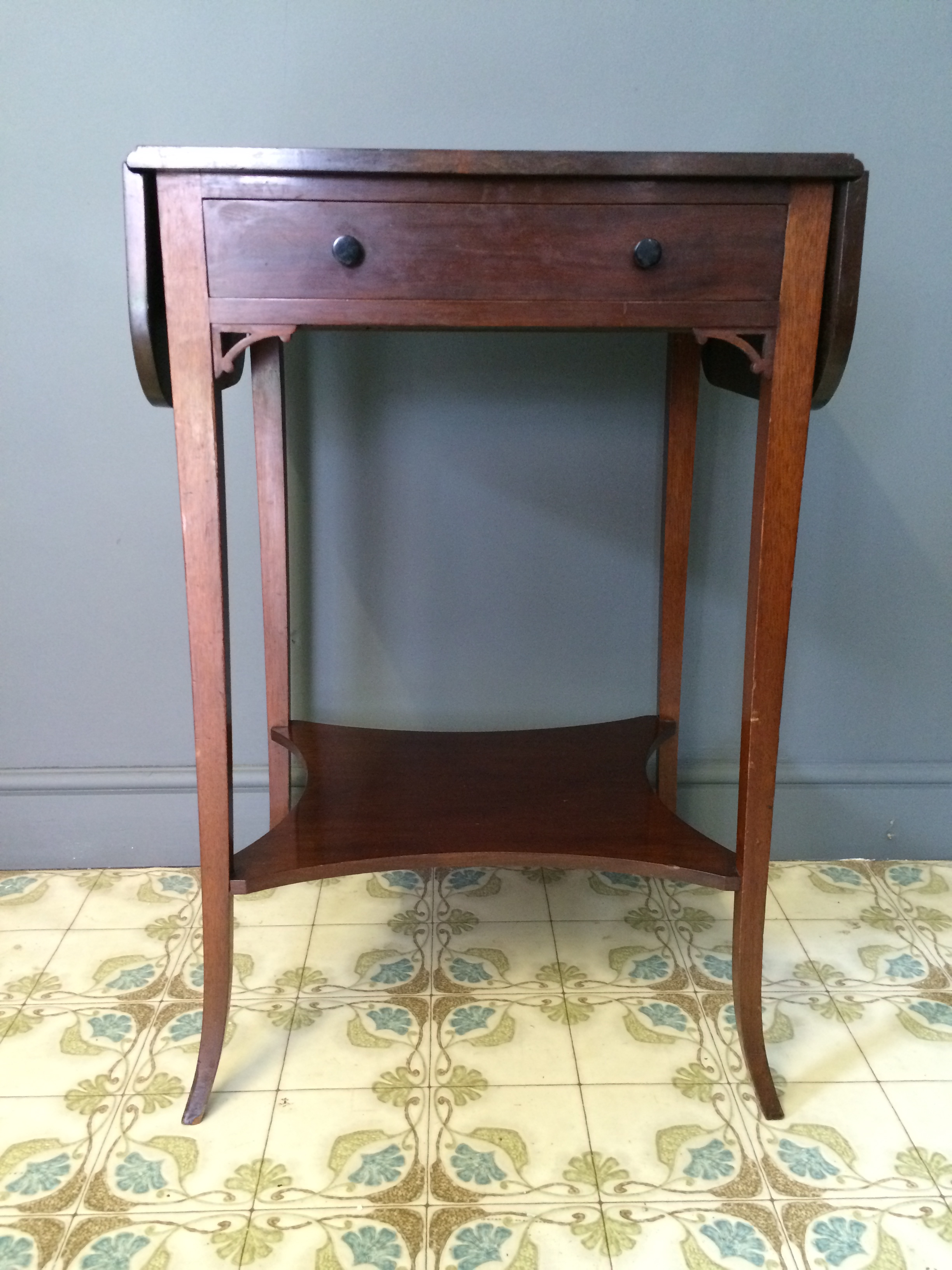 Edwardian Mahogany Drop Leaf Side Bedside Table Bowden Knight