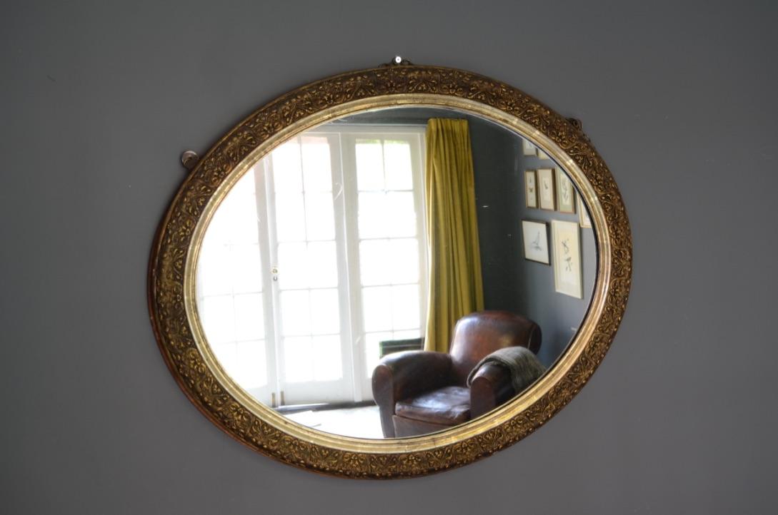 Large Oval Decorative Gilt Framed Mirror